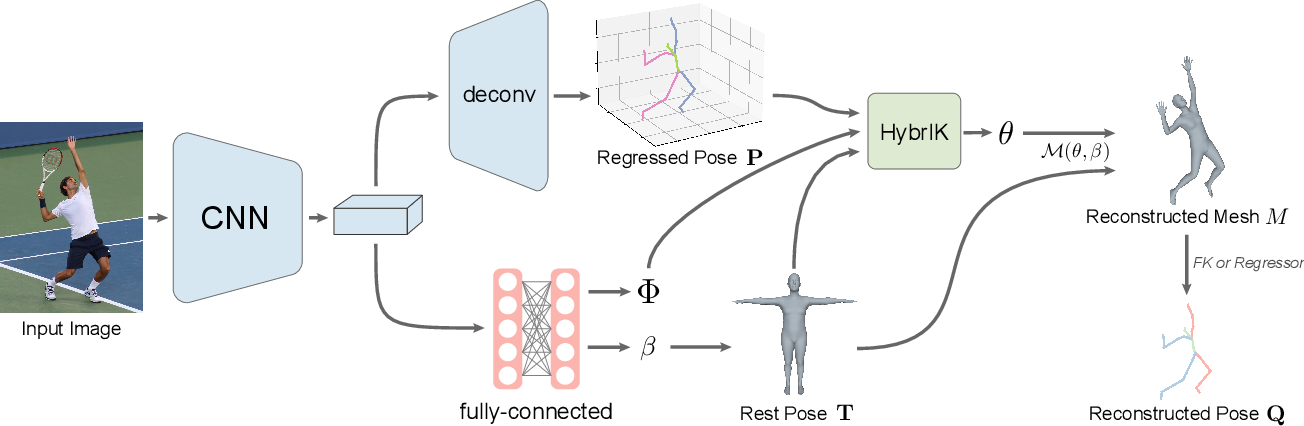 Figure 3 for HybrIK: A Hybrid Analytical-Neural Inverse Kinematics Solution for 3D Human Pose and Shape Estimation