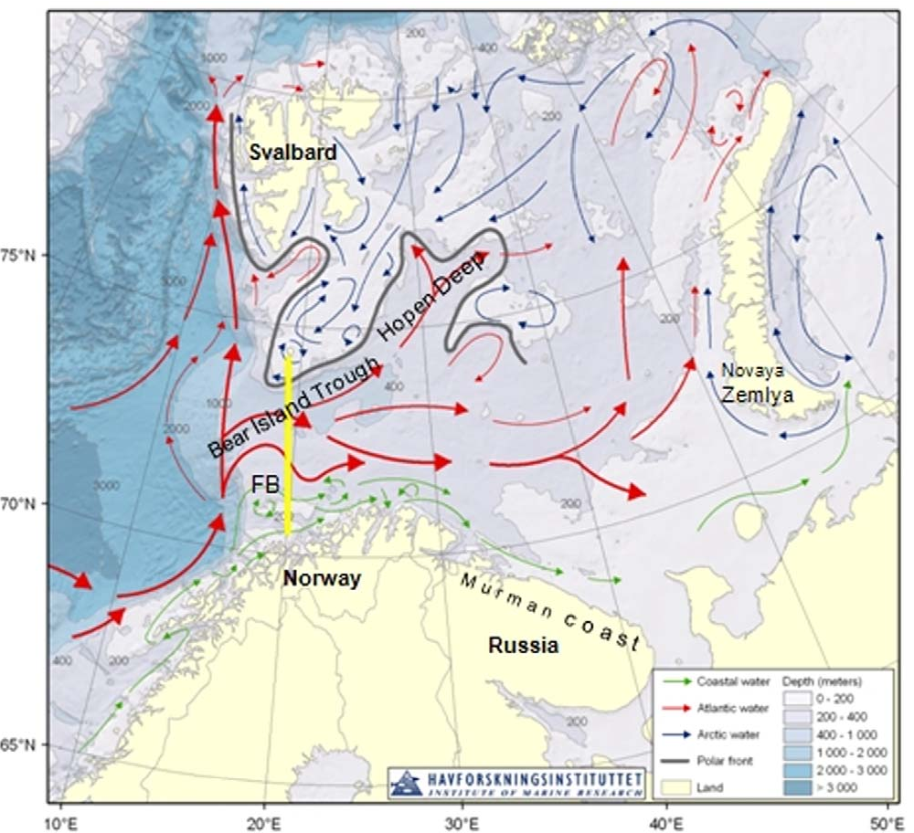 Figure 1. Map of the Barents Sea (www.imr.no), showing oceanographic and topographic features. The Fugløya-Bear Island (FB) section is shown by yellow line. doi:10.1371/journal.pone.0033050.g001