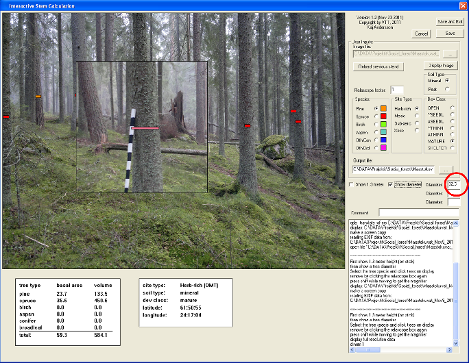 Fig. 3. Screen capture of the interactive tool for reference biomass data computation.