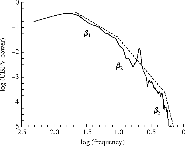 Figure 3. PSD of the mean CBFV signal represented in figure 1d, plotted on a log–log scale. Different regression lines (shifted for clarity) apply to different spectral intervals, leading to different values for the spectral index b.