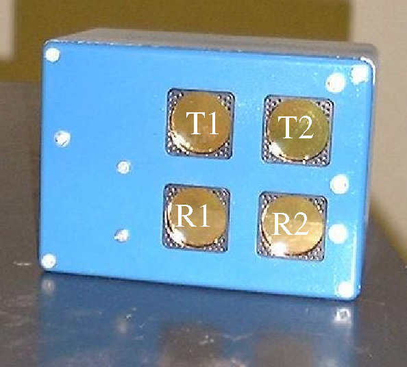 Figure 1 - The DSP sonar sensor showing transmitters T1 and T2 and receivers R1 and R2.