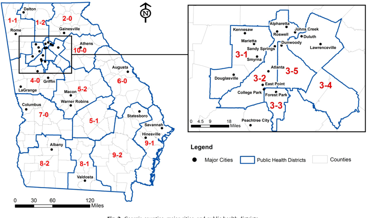 Map Of Georgia Public Health Districts.Figure 2 From An Exploratory Spatial Data Analysis Of Low Birth