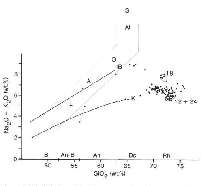 figure 4  sio2/(na2o + k2o) diagram, raw data  dots