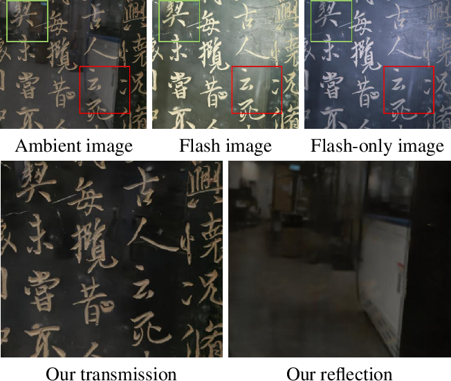 Figure 1 for Robust Reflection Removal with Reflection-free Flash-only Cues