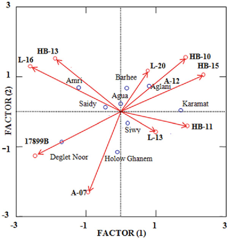 Fig. 2 MDPREF (Biplot) analysis eigenvalues of the studied soft date palm cultivars; numbers inside figure indicated RAPD or ISSR primer names