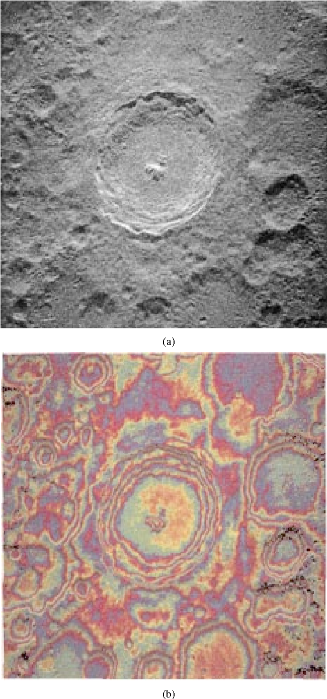 Fig. 5. (a) Radar backscatter map of the Tycho region. The image is in delay-Doppler coordinates, with time delay (range from the observer) increasing top to bottom and Doppler frequency increasing to the left and (b) interferogram corresponding to the same area. The spacing between identical colors represents 360 of phase, or an elevation difference of 1290 m.