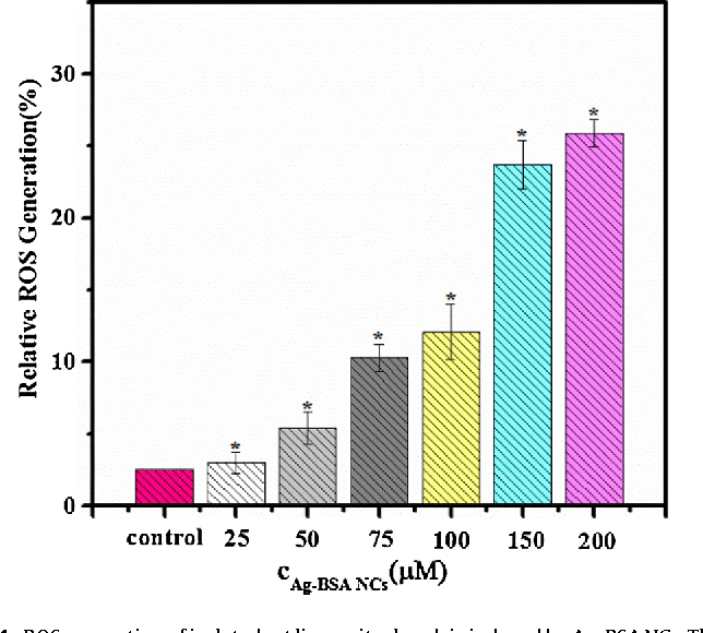 Fig. 4. ROS generation of isolated rat liver mitochondria induced by Ag-BSA NCs. The data are expressed as mean ± standard deviation (SD) of three independent experiments of the percent of recovery of fluorescence intensity relative to the change o s