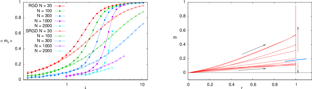 Figure 2 for How to iron out rough landscapes and get optimal performances: Replicated Gradient Descent and its application to tensor PCA