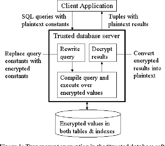 """Figure 1: Transparentencryption in the """"trusted database software with vulnerable storage"""" setting."""