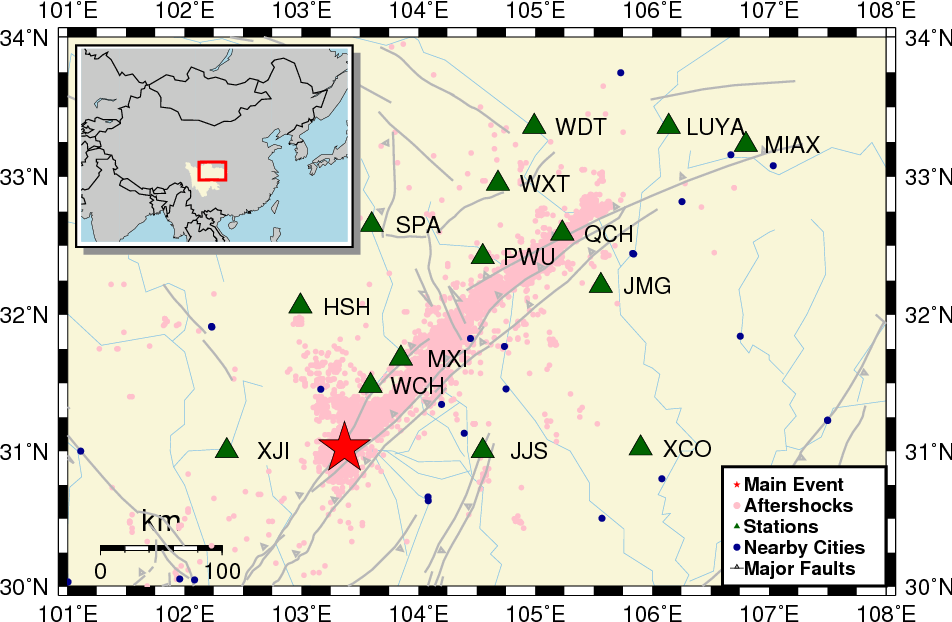 Figure 1 for Deep learning for seismic phase detection and picking in the aftershock zone of 2008 Mw7.9 Wenchuan