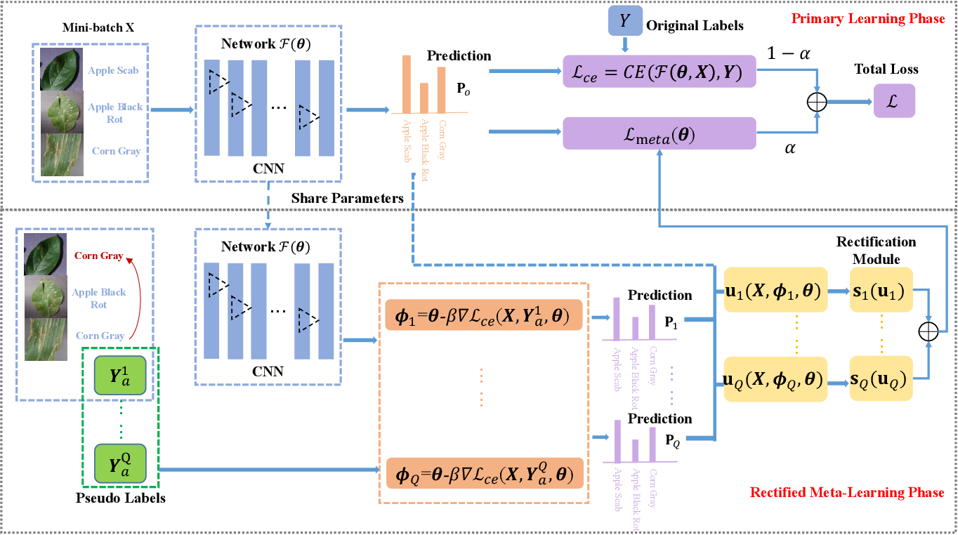 Figure 2 for Rectified Meta-Learning from Noisy Labels for Robust Image-based Plant Disease Diagnosis