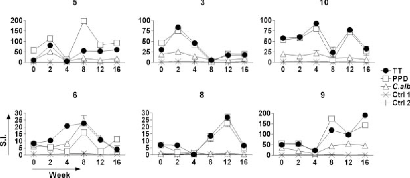 Figure 1. Kinetics of vaccine-specific and bystander proliferative responses of Tmem cells following booster vaccination with TT. Six representative examples are shown. Vaccination (week 0) induces early (subjects 5, 3, and 10) and late (subjects 6, 8, and 9) TT-specific responses. Parallel kinetics were observed in the responses against 2 unrelated antigens (PPD and C albicans [C alb]) for which pre-existing immunity was evident, but no responses were detected against control antigens (Ctrl 1 and Ctrl 2) with no evident pre-existing immunity. Proliferative activity was measured by 3H-thymidine incorporation after 6 days of in vitro culture and reported for each time point as the mean value of stimulation index (SI) in triplicate cultures SD.