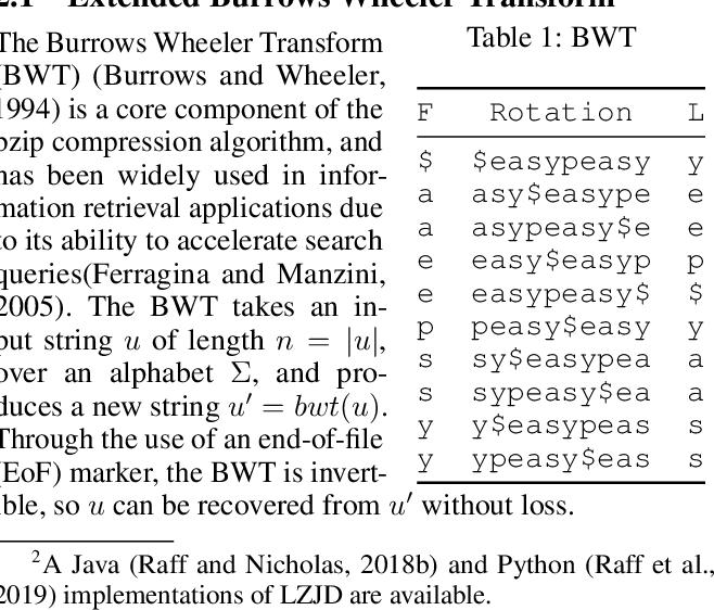 Figure 1 for A New Burrows Wheeler Transform Markov Distance