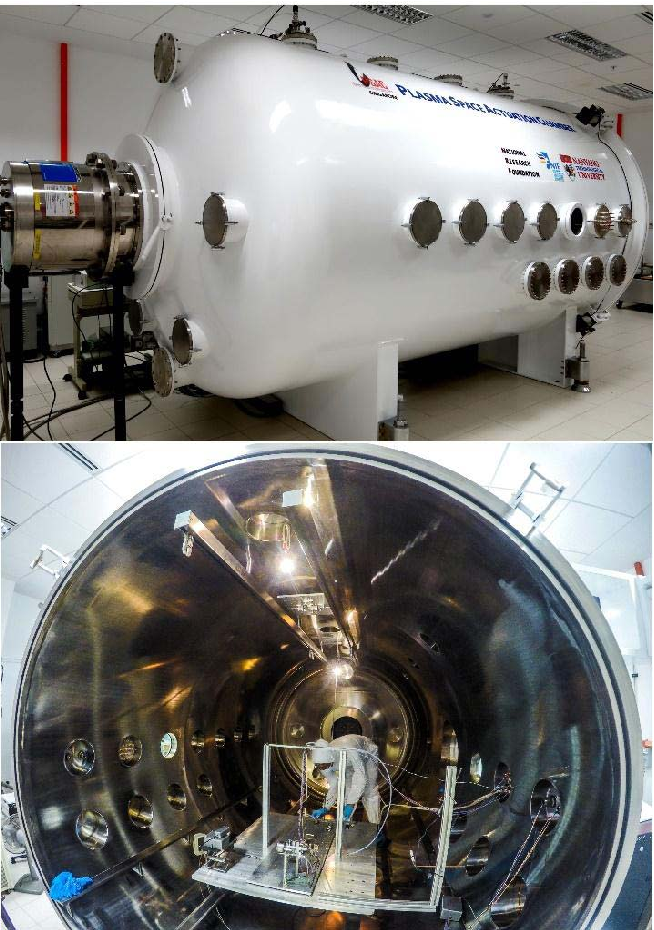 Fig. 1. Large space simulator used at the PSAC/SPCS. The AIRS-μS system is installed in the chamber, with several units placed outside and in the control room.