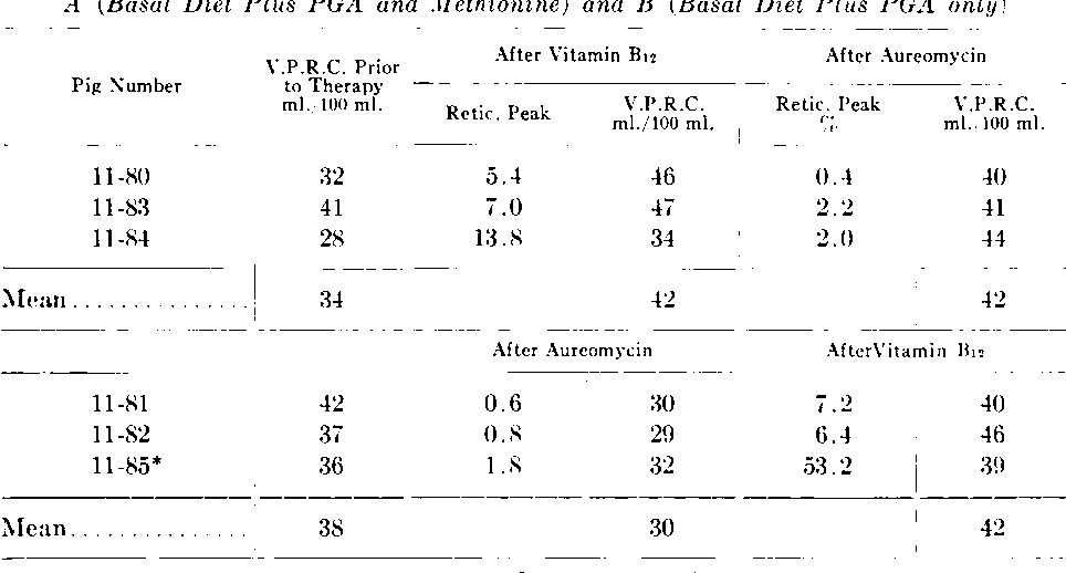 TABLE 6.-Experiment II: Hematologic Response to Vitamin B1, and Aureomycin in Groups A (Basal Diet Plus PG 4 and Methionine) and B (Basal Diet Plus PGA only)