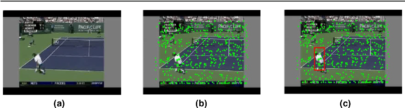 Fig. 4 An example of result obtained from samples generated using stochastic approach at current frame. a The target object at the current frame, F(t). b Samples points generated to predict the new state of the tracked object. c The location of the tracked object. Green points denote samples points at the current frame