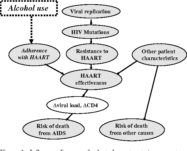 Figure 1. Influence diagram of selected constructs in computer simulation. Clinical characteristics are assumed to affect the probability of dying from HIV-related or non HIV-related causes and also to affect viral genetic characteristics by altering viral replication rates and selection pressures for new mutations. Viral replication and selection pressures may give rise to HIV mutations. Each HIV mutation may or may not give rise to resistance to one or more HAART drugs. Adherence to HAART combined with resistance to HAART and other patient characteristics determine the level of HAART effectiveness. The effectiveness of HAART influences changes in viral load and CD4 count, and also feeds back to influence changes in the viral replication rate. Changes in CD4 and viral load influence the risk of death from AIDS. The risk of death from other causes may be influenced by patient characteristics including age, sex, and race. Alcohol use is assumed to impact adherence with HAART, and subsequently to influence HAARTeffectiveness, and ultimately the risk of death from AIDS. Although it is not depicted in this diagram, alcohol also was assumed to directly impact the risk of death from other causes during the 'J curve' sensitivity analyses.