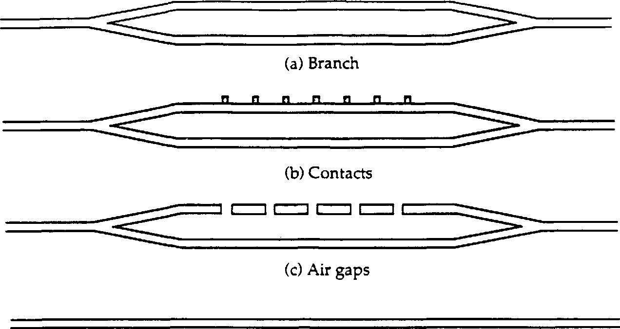 Figure 2.3 Additional test structures included to assess effects of structural components. Three different guide widths are used in each case.