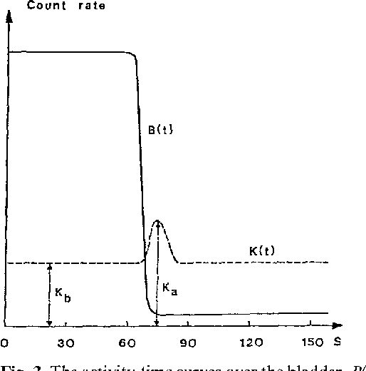 Fig. 3. The activity-time curves over the bladder, B(t), and a kadney, K(t). Reflux occurs towards the end of the urine passing. The characteristic activity levels of K(t) are indicated in the figure
