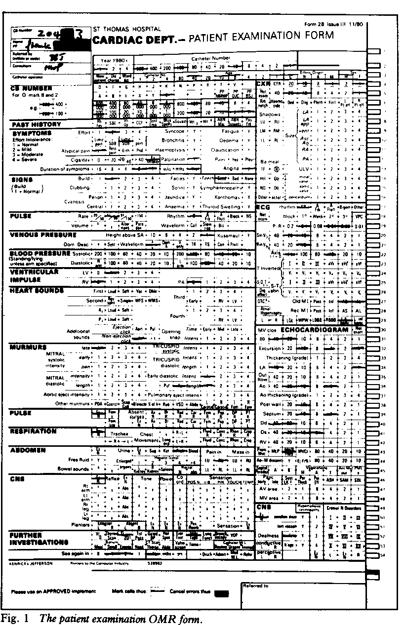 Fig. 1 The patien examination OMR form.