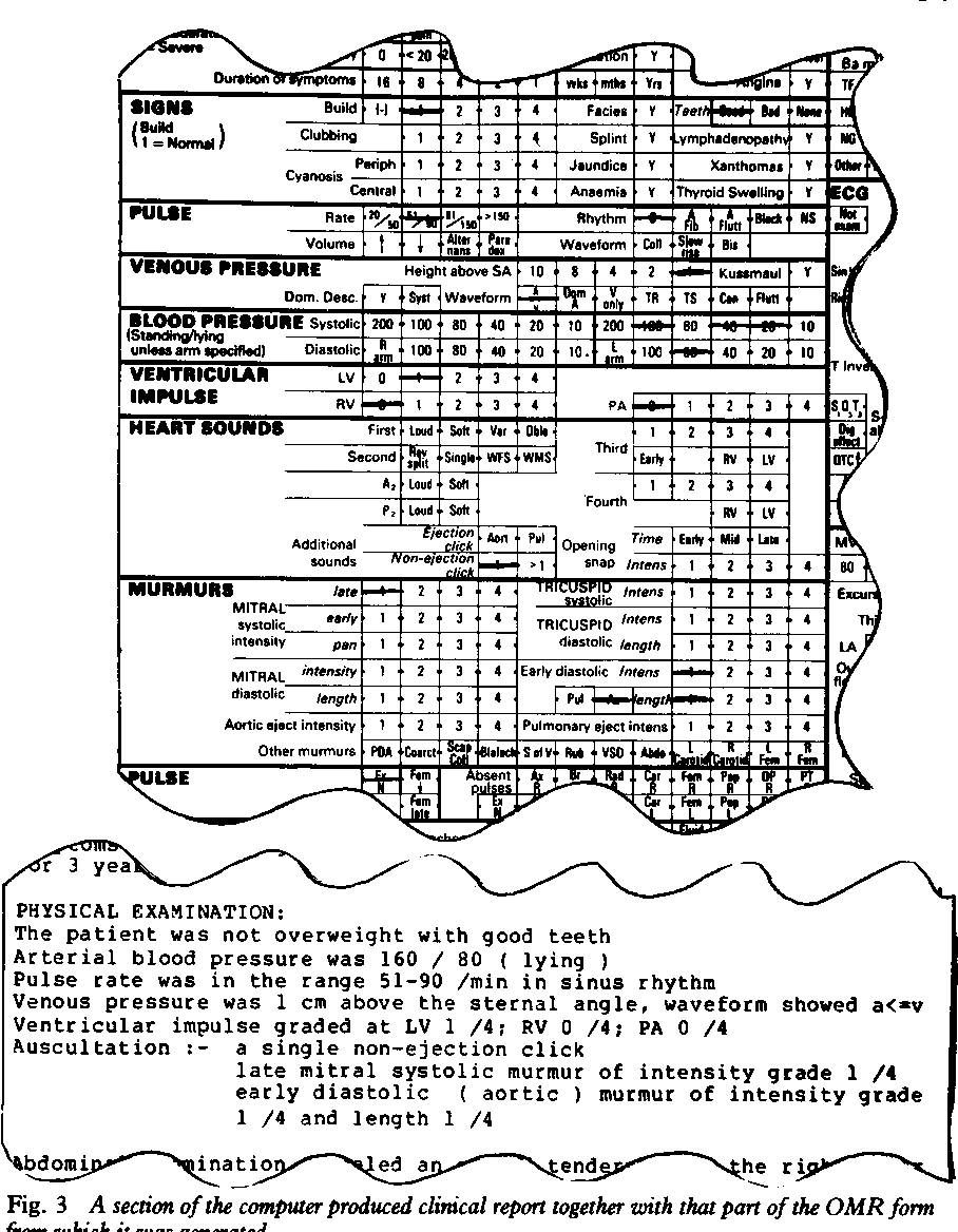 Fig. 3 A section of the computer produced clinical report together with that part of the OMR form from which it was generated.