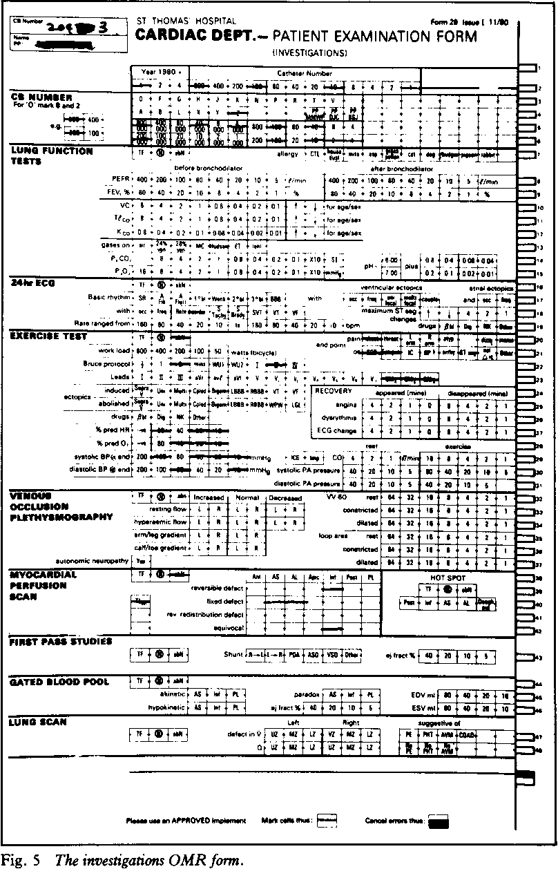 Fig. 5 The investigations OMR form.