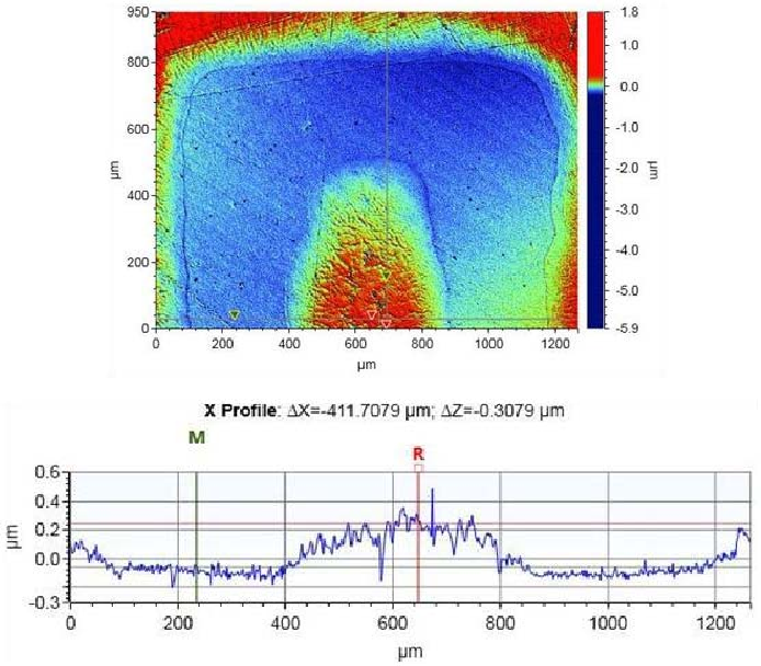 Fig. 3. 3D Profilometry scan of the inkjet printed silver electrodes illustrating an average thickness ( Z) of 0.3 μm.