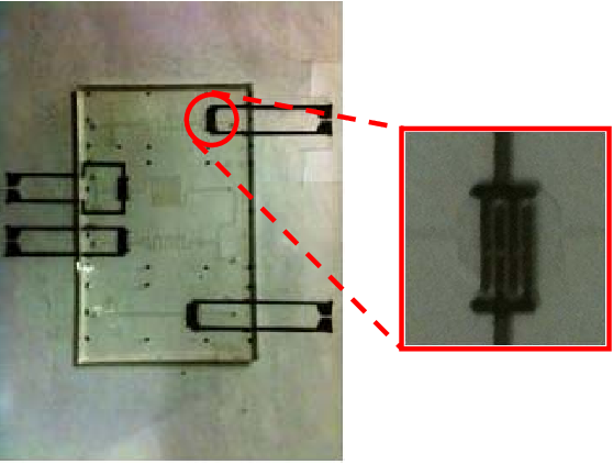 Fig. 4. PDMS based printed and flexible microfluidic sensing device; (Inset) printed interdigitated electrodes.
