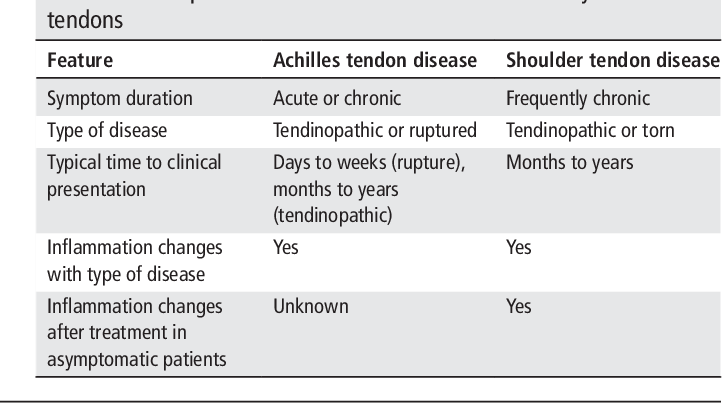 Chronic inflammation is a feature of Achilles tendinopathy