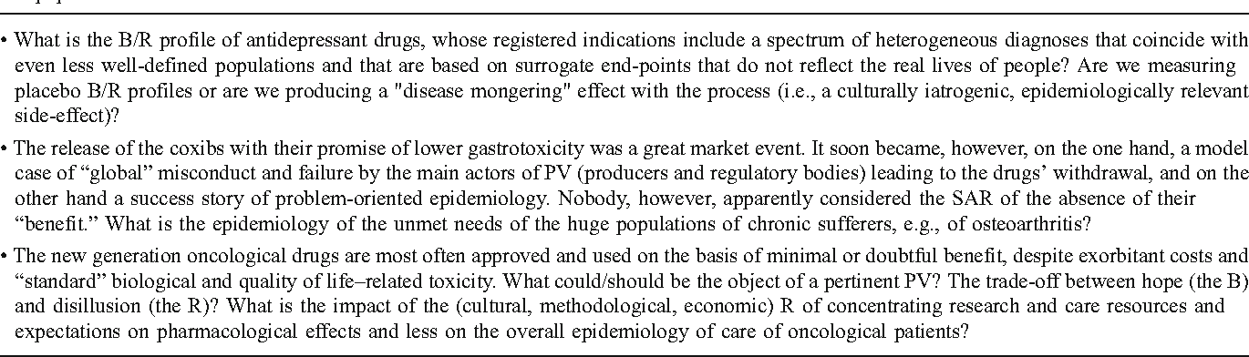 Table 4 Three model scenarios that require downplaying strict pharmacovigilance (PV) definitions and focusing on the epidemiology of problems and populations