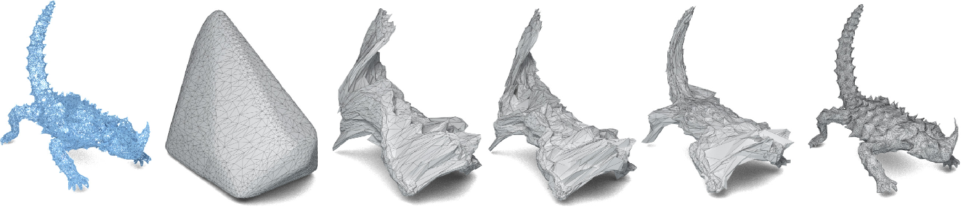 Figure 1 for Point2Mesh: A Self-Prior for Deformable Meshes