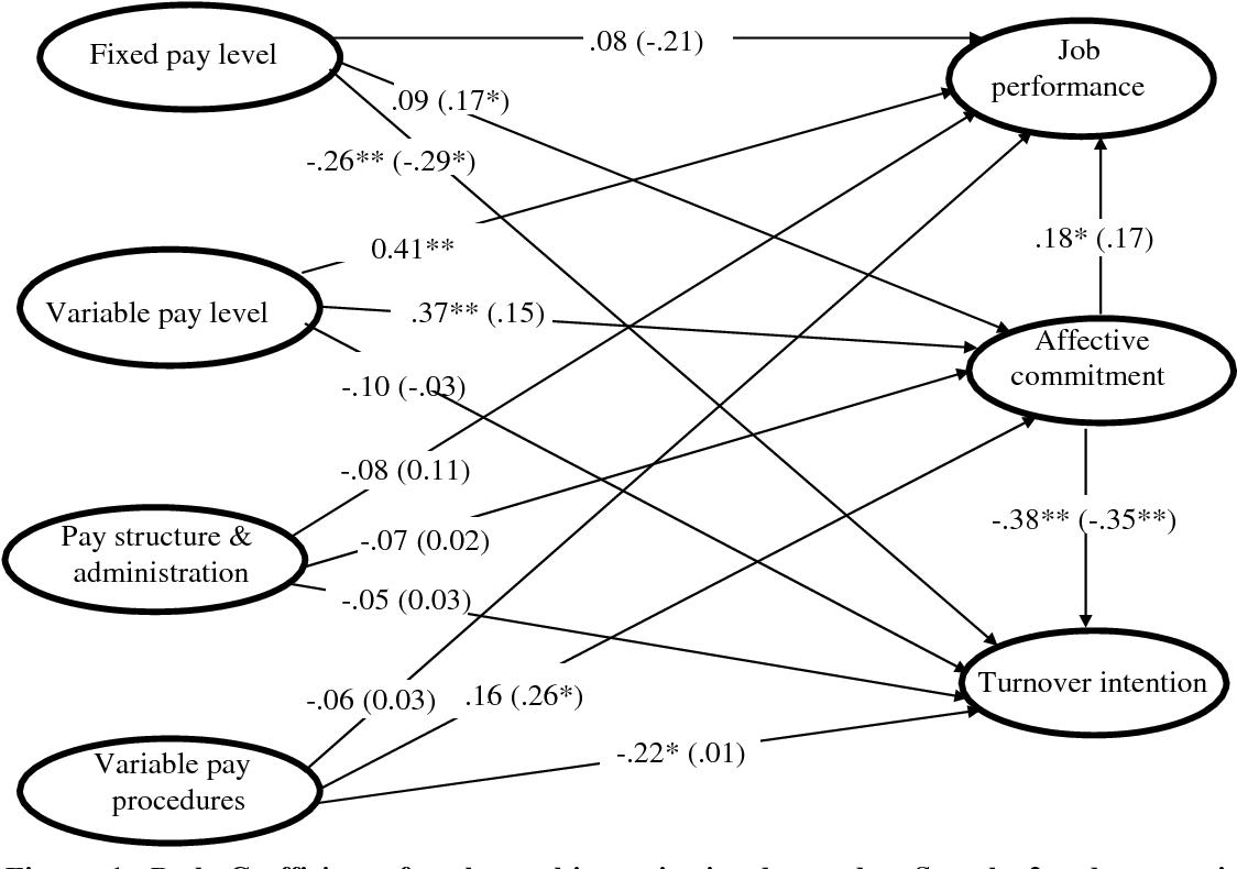 Figure 1: Path Coefficients for the multiorganizational samples. Sample 2 values are in parentheses while those for sample one are not