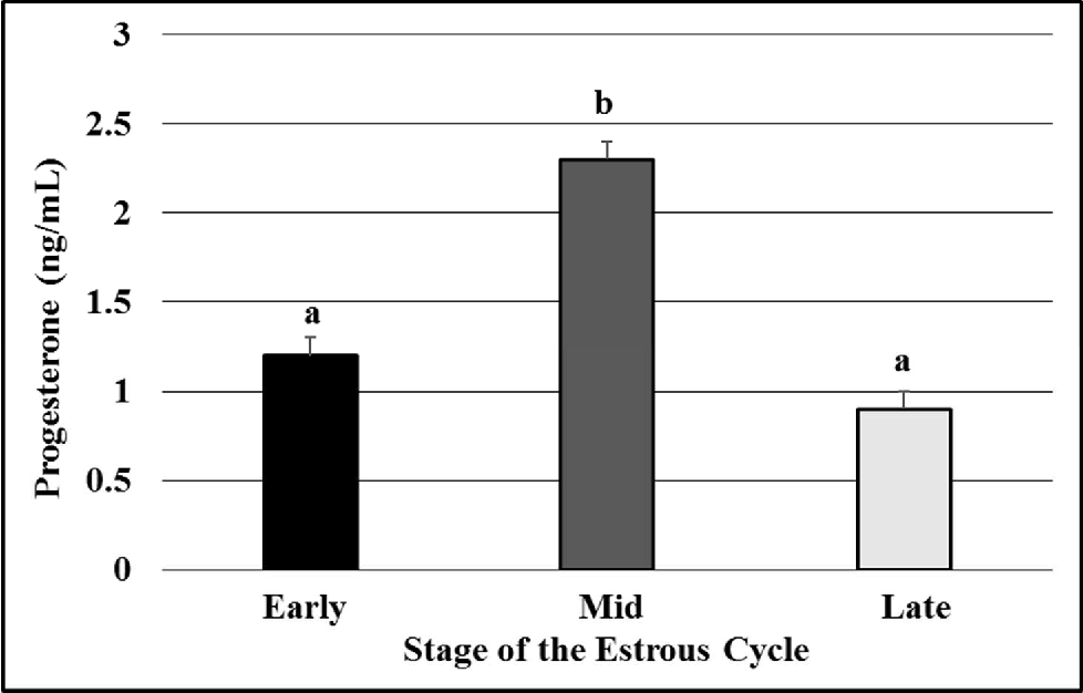 Figure 2.3. The concentration (ng/ml) of progesterone in serum at early-, mid-, or late-luteal phases of the estrous cycle. a,b P<0.05, means ±SEM with different superscripts differ.