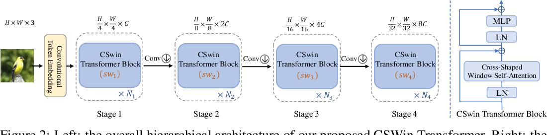 Figure 3 for CSWin Transformer: A General Vision Transformer Backbone with Cross-Shaped Windows