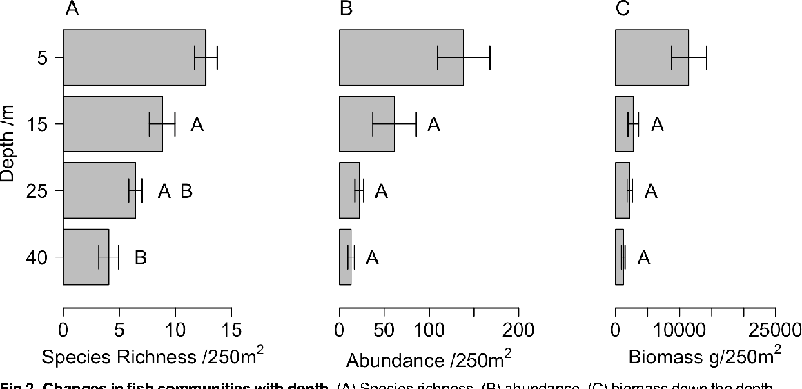 Fig 2. Changes in fish communities with depth. (A) Species richness, (B) abundance, (C) biomass down the depth gradient. Figure shows mean and SE. Letters indicate statistically different groups at the p<0.05 level.