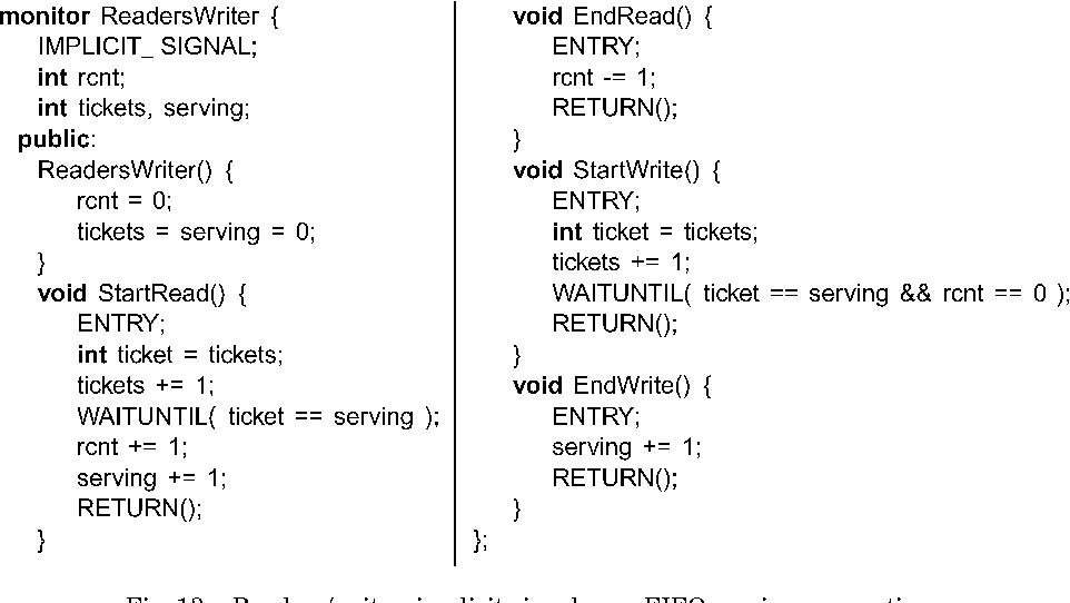 Fig. 13. Readers/writer: implicit signal, non-FIFO service assumption.