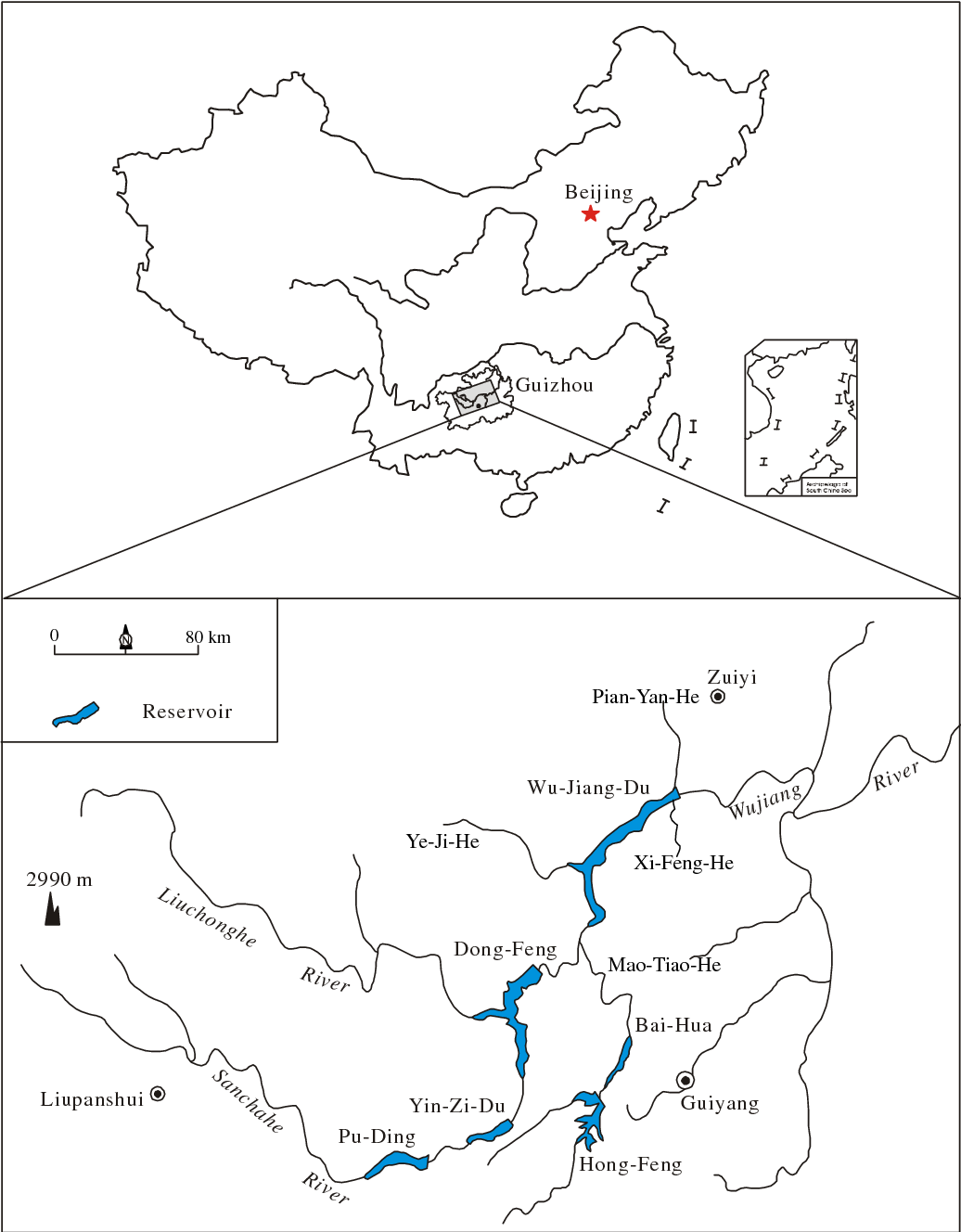 figure 1 from mercury mass balance study in wujiangdu and dongfeng Nguoi Da Hua MA fig 1 location of study area in wujiang river guizhou china