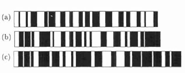 Figure 1: (a) A random sequence. (b) An optimal sequence. (c) An optimal sequence with buffer zones.