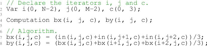 Figure 2 for Tiramisu: A Code Optimization Framework for High Performance Systems