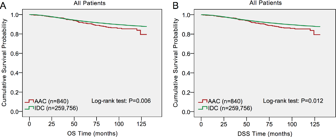 Figure 1: Log-rank test for breast cancer overall survival (OS) and disease-specific survival (DSS) to compare invasive apocrine adenocarcinoma (AAC) to infiltrating ductal carcinoma (IDC).