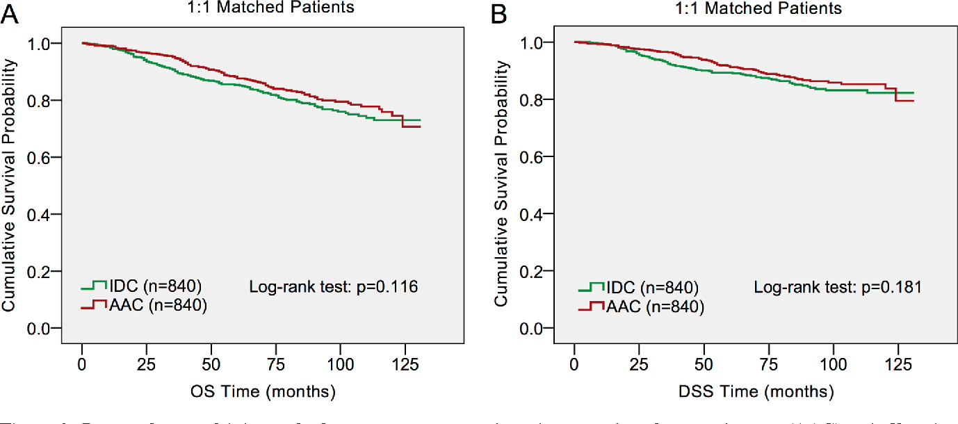 Figure 2: Log-rank test of 1:1 matched groups to compare invasive apocrineadenocarcinoma (AAC) to infiltrating ductal carcinoma (IDC).