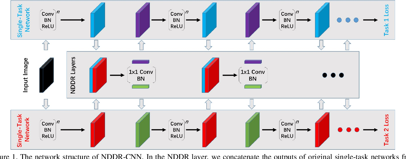 Figure 1 for NDDR-CNN: Layer-wise Feature Fusing in Multi-Task CNN by Neural Discriminative Dimensionality Reduction