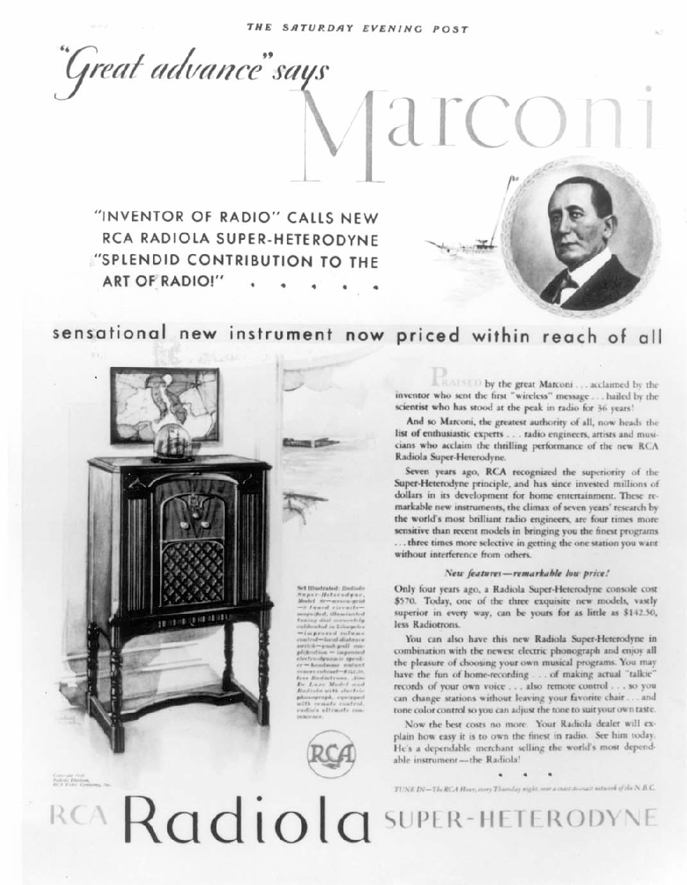 Fig. 4. Advertisement for the Radiola from the Saturday Evening Post, from the mid-1920s. (IEEE History Center, Piscataway, NJ).
