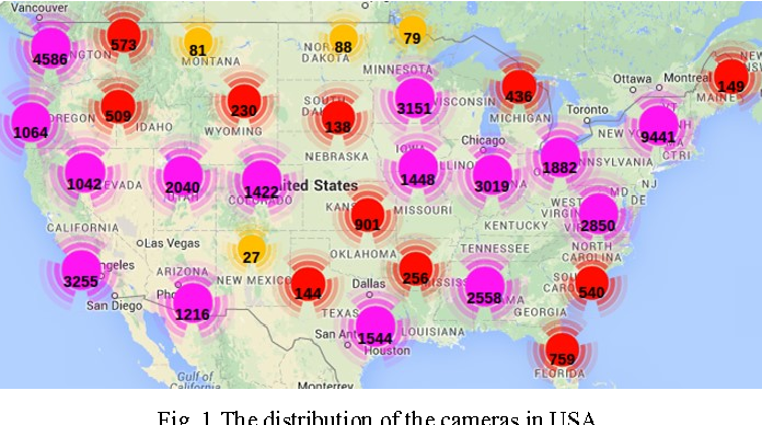 Fig. 1 The distribution of the cameras in USA.