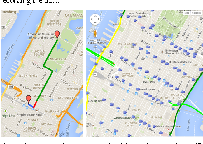 Fig. 3 (left) The route of the Macy's Parade. (right) The locations of the traffic cameras in New York City.