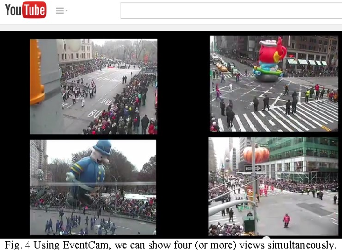 Fig. 4 Using EventCam, we can show four (or more) views simultaneously.