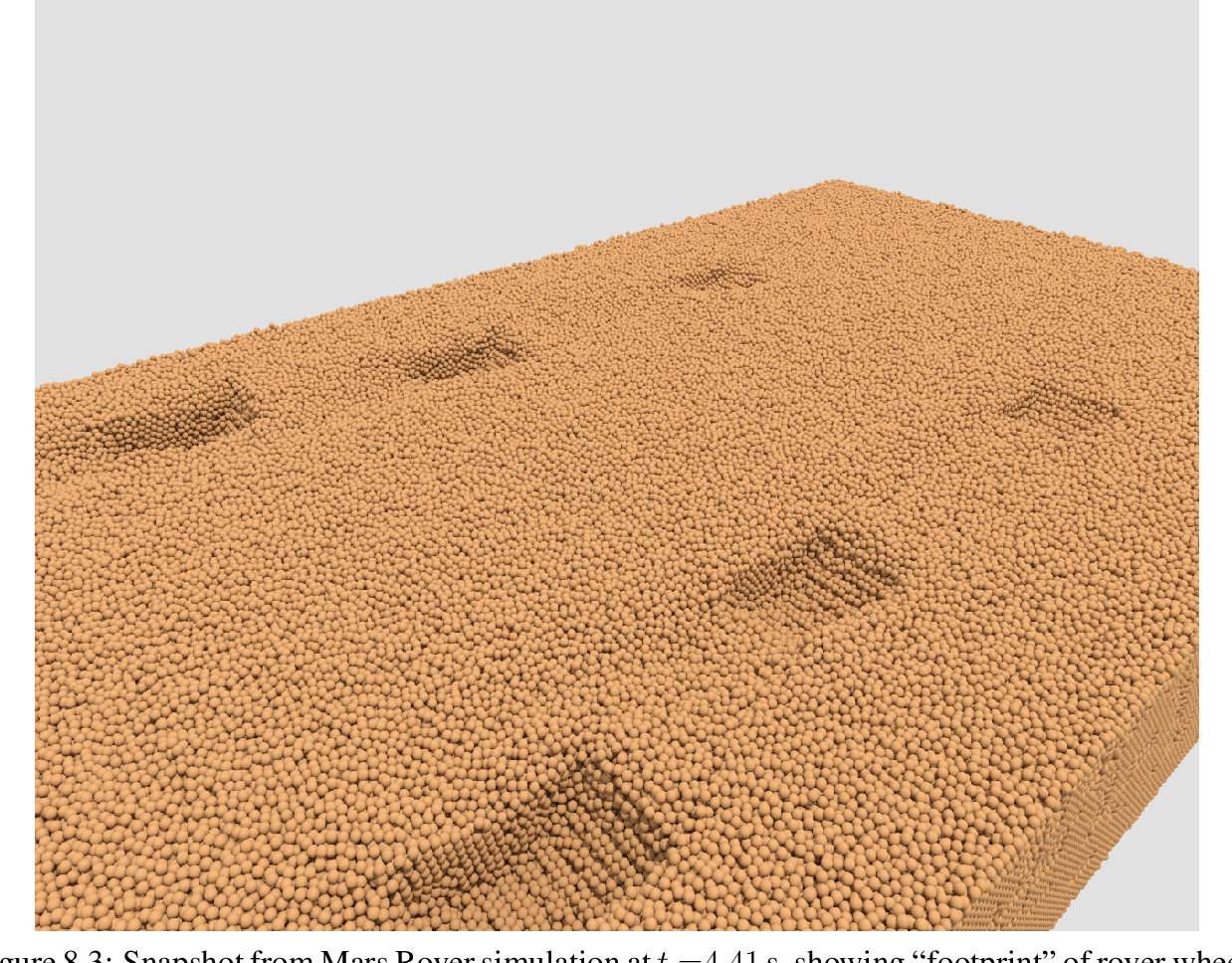 "Figure 8.3: Snapshot from Mars Rover simulation at t =4.41 s, showing ""footprint"" of rover wheels with grousers in granular terrain composed of two million rigid bodies."
