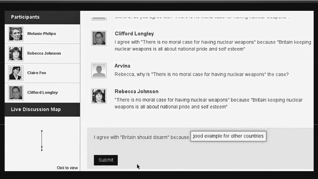 Fig. 1 Arvina Interface, a mixed initiative argumentation tool that allows participants to interact with ''software agents'' that take arguments from analysed debates