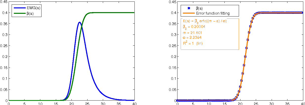 Figure 4: Left: The division rate β(a) is obtained numerically from (10) by using an EMG with coefficients m = 22, σ = 2 and β0 = 0.2 to fit I∞ (15). Right: The formula for β, as an error function with these same three parameters, is numerically indistinguishable from the numerically obtained β (R2 = 1).