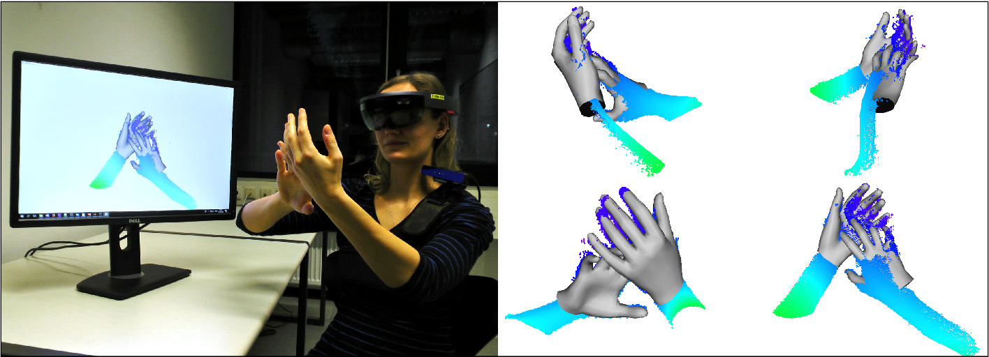Figure 1 for Real-time Pose and Shape Reconstruction of Two Interacting Hands With a Single Depth Camera